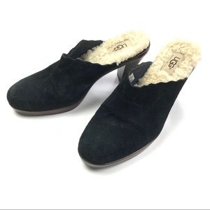 Ugg Suede Heeled Clogs with Sheepskin Footbed, 7